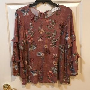 Emelia Trendy Floral Ruffle Sleeve Top Large EUC